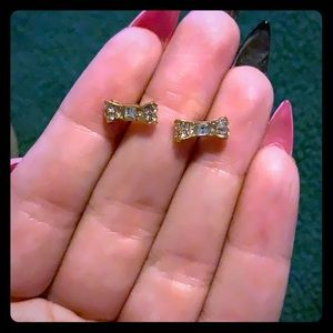 Kate Spade Gold Pave Bow Earrings